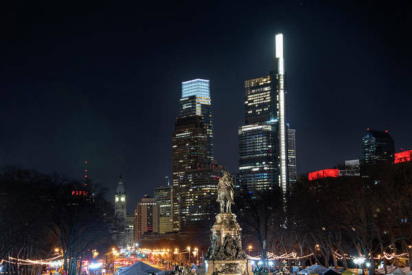 Wall Art - Photograph - Cityscape - Philly At Night - The Parkway by Bill Cannon
