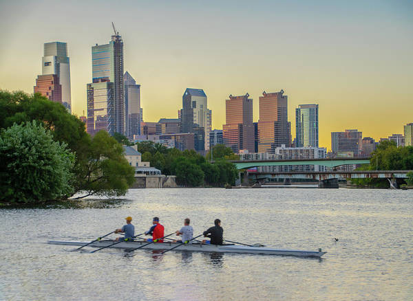 Photograph - Cityscape - Rowing Along Boathouse Row by Bill Cannon