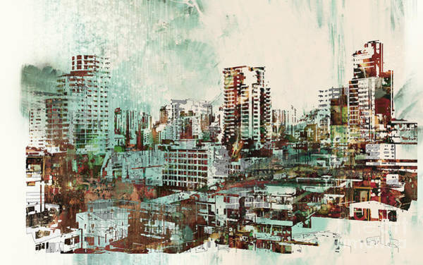 Wall Art - Digital Art - Cityscape With Abstract by Tithi Luadthong