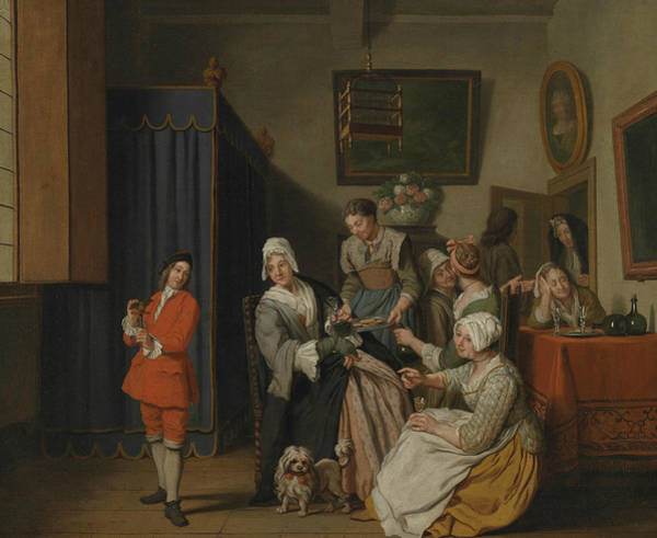 Painting - Civic Interior With Numerous Women And A Young Man With A Bird by Jan Josef Horemans the Younger