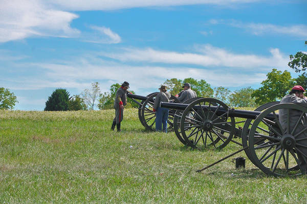 Re-enactment Wall Art - Photograph - Civil War Re-enactment - Cannons At Gettysburg by Bill Cannon