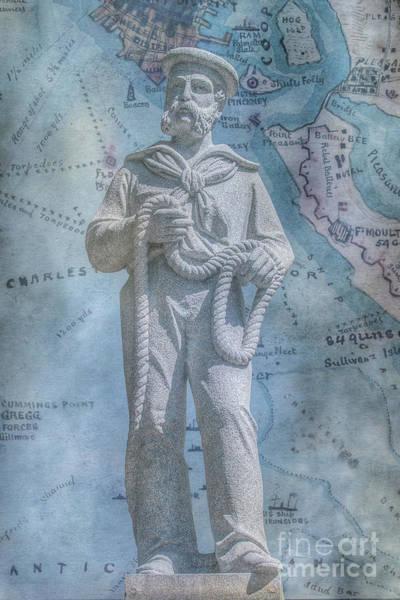 Wall Art - Digital Art - Civil War Sailor Statue On Map by Randy Steele