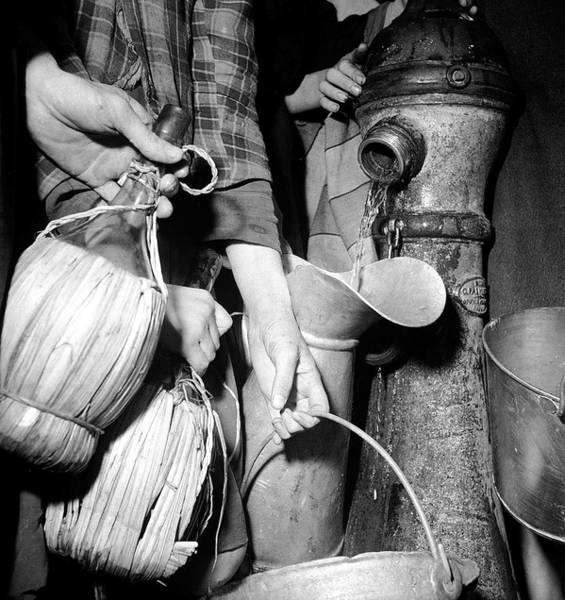 Water Hydrant Photograph - Civilians Filling Wine Jugs & Other Cont by Margaret Bourke-white