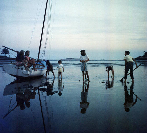 Low Tides Photograph - Clam Diggers by Slim Aarons