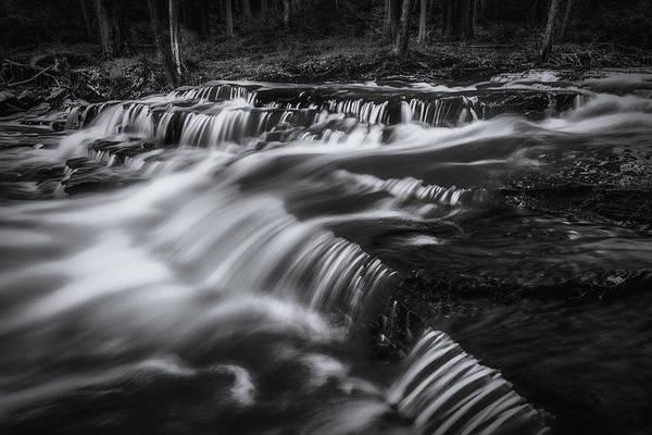 Photograph - Clark Creek Cascades No 1 Bw by Simmie Reagor