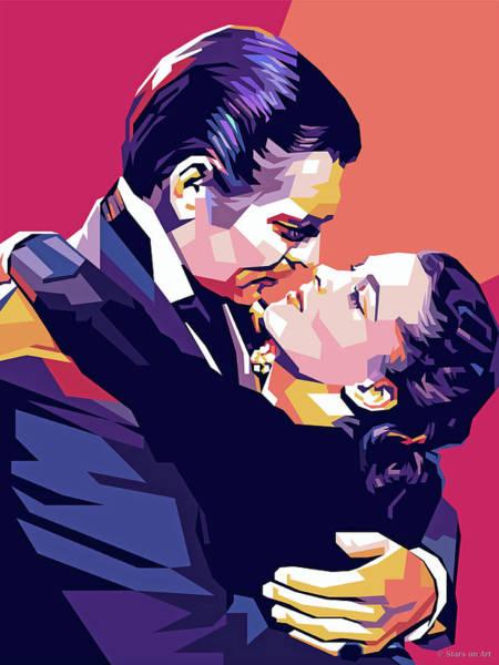 Digital Art - Clark Gable And Vivien Leigh by Stars on Art