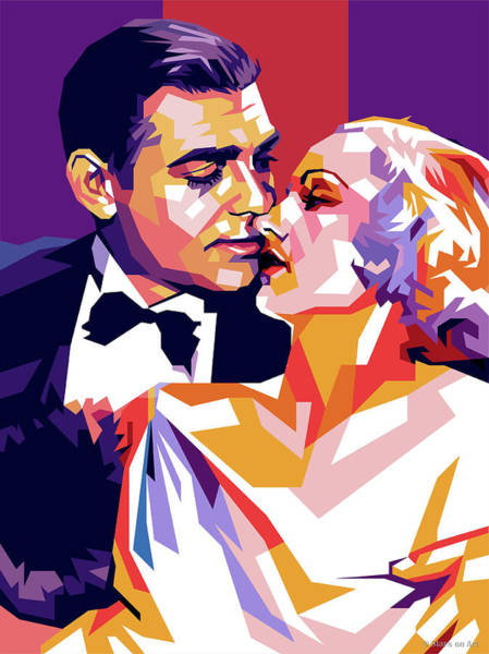 1932 Wall Art - Digital Art - Clark Gable And Carole Lombard by Stars on Art