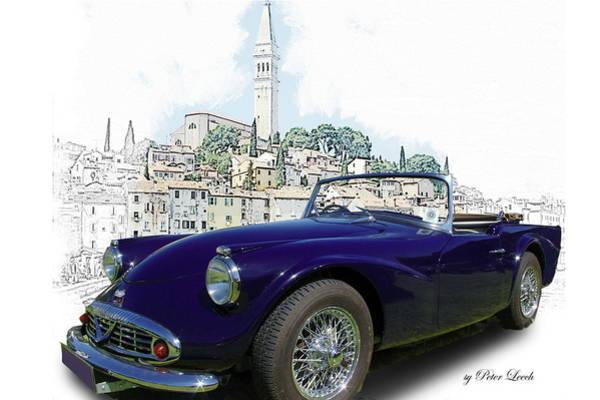 Digital Art - Classic British Sports Car In Croatia by Peter Leech