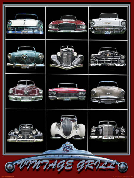 Hood Ornaments Digital Art - Classic Car Chrome Grilles by Larry Butterworth