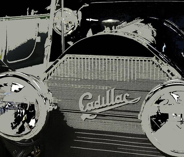 Mixed Media - Cadillac Classic Car Black And White by Joan Stratton
