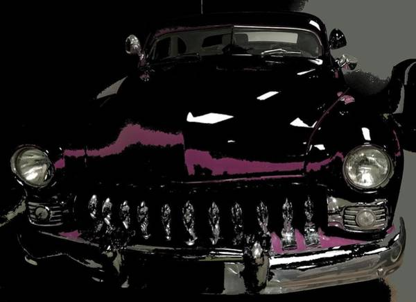 Mixed Media - Classic Car Black N Magenta by Joan Stratton