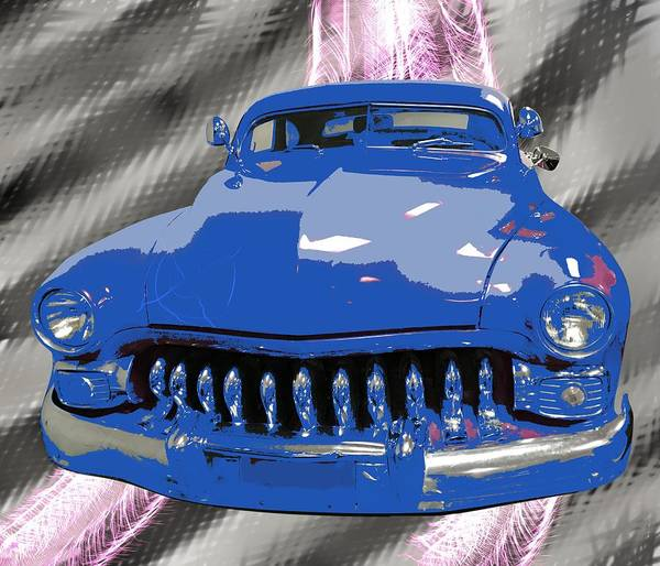 American Car Mixed Media - Classic Car In Blue by Joan Stratton