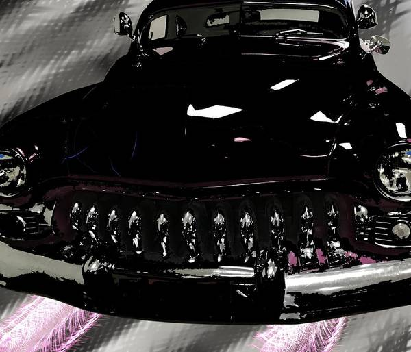 Mixed Media - Classic Car In Black by Joan Stratton