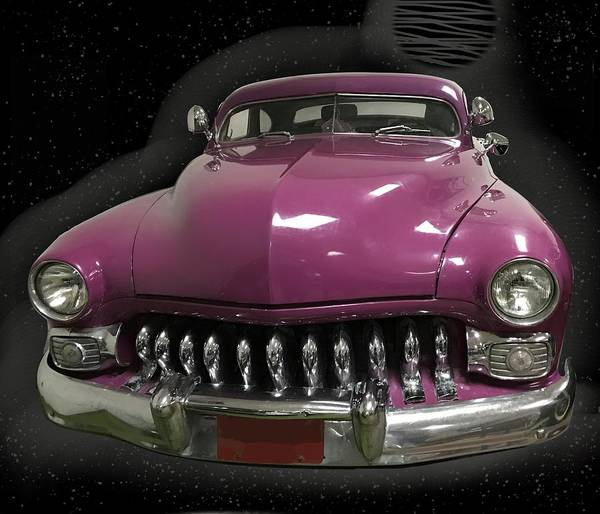 Mixed Media - Classic Car In Purple  by Joan Stratton