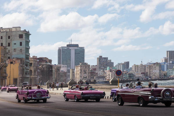 Wall Art - Photograph - Classic Cars On Road With City Skyline by Panoramic Images