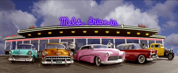 Waiter Photograph - Classic Cars Outside Drive-in Diner by Annabelle Breakey