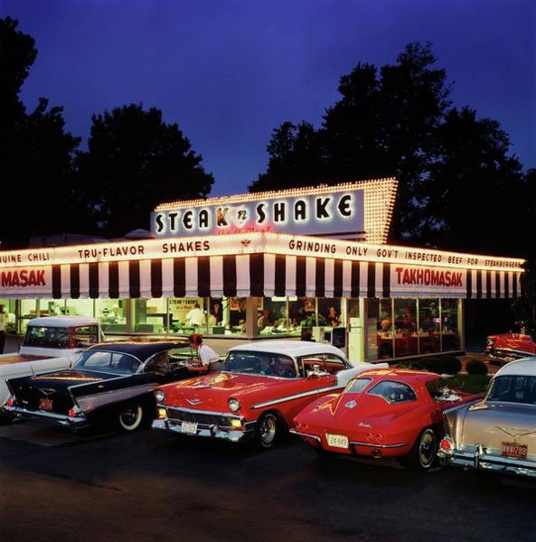 Insurance Photograph - Classic Chevys At Steak N Shake In by Car Culture