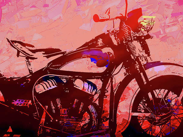Digital Art - Classic Flathead Motorcycle Red Pop by David King