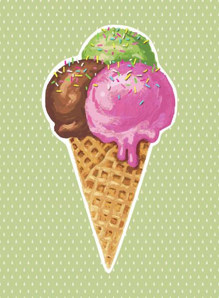 Ice Cream Cones Digital Art - Classic Ice Cream by Marabird