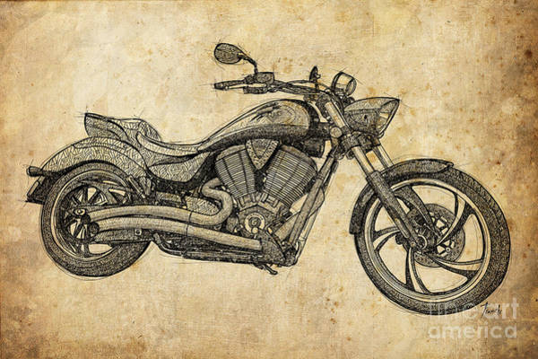 Wall Art - Digital Art - Classic Motorcycle, Original Handmade Drawing, Gift For Bikers by Drawspots Illustrations