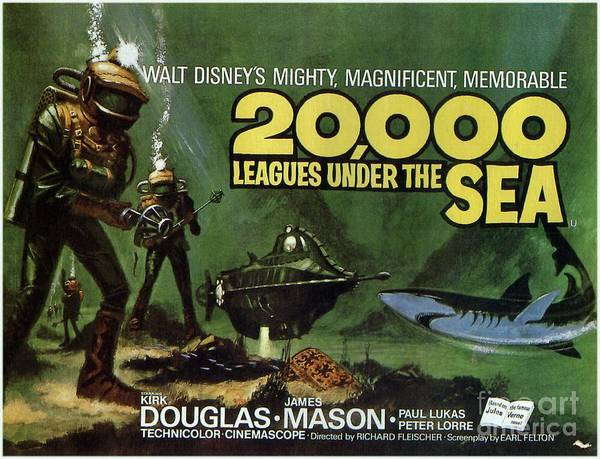 Wall Art - Painting - Classic Movie Poster - 20,000 Leagues Under The Sea by Esoterica Art Agency
