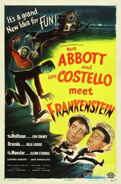 Wall Art - Painting - Classic Movie Poster - Abbott And Costello Meet Frankenstein by Esoterica Art Agency
