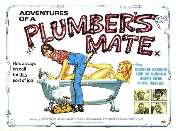 Wall Art - Painting - Classic Movie Poster - Adventures Of A Plumbers Mate by Esoterica Art Agency