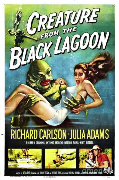 Wall Art - Painting - Classic Movie Poster - Creature From The Black Lagoon by Esoterica Art Agency