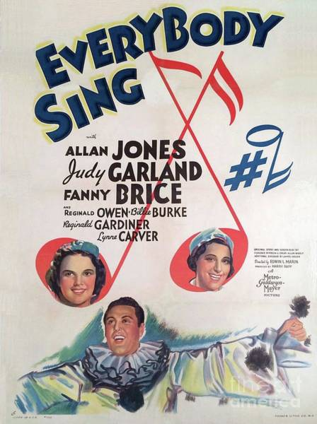 Wall Art - Painting - Classic Movie Poster - Everybody Sing by Esoterica Art Agency