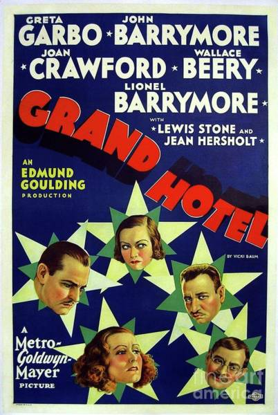 Wall Art - Painting - Classic Movie Poster - Grand Hotel by Esoterica Art Agency