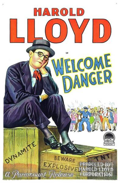 Wall Art - Painting - Classic Movie Poster - Harold Lloyd In Welcome Danger by Esoterica Art Agency