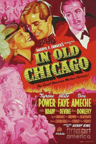 Vintage Chicago Painting - Classic Movie Poster - In Old Chicago by Esoterica Art Agency