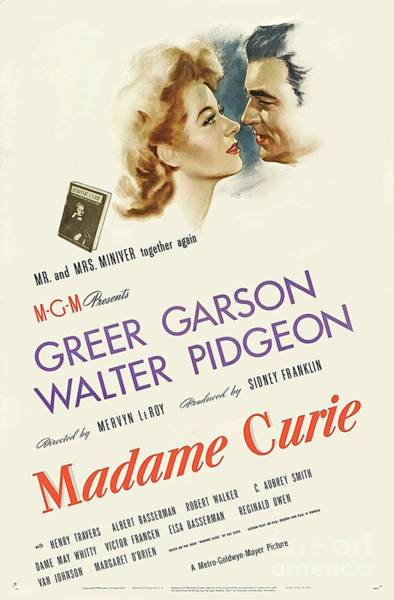 Wall Art - Painting - Classic Movie Poster - Madame Curie by Esoterica Art Agency