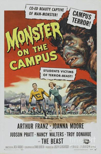 Horror Film Painting - Classic Movie Poster - Monster On Campus by Esoterica Art Agency