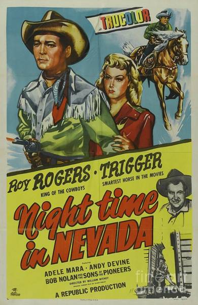 Wall Art - Painting - Classic Movie Poster - Night Time In Nevada by Esoterica Art Agency