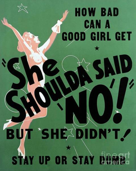 Wall Art - Painting - Classic Movie Poster - She Shoulda Said No by Esoterica Art Agency