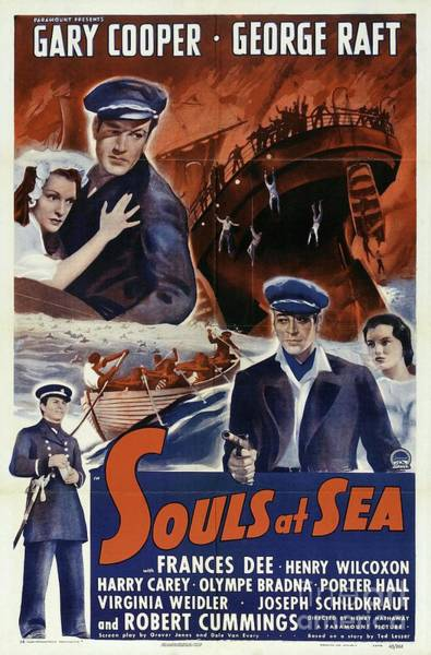 Raft Wall Art - Painting - Classic Movie Poster - Souls At Sea by Esoterica Art Agency