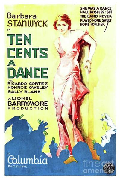 Wall Art - Painting - Classic Movie Poster - Ten Cents A Dance by Esoterica Art Agency