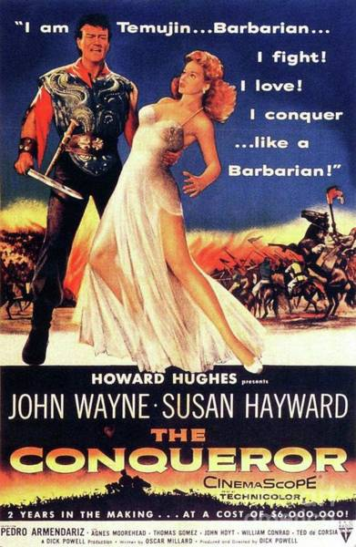 Wall Art - Painting - Classic Movie Poster - The Conqueror by Esoterica Art Agency