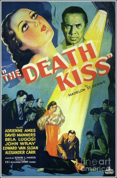 Wall Art - Painting - Classic Movie Poster - The Death Kiss by Esoterica Art Agency