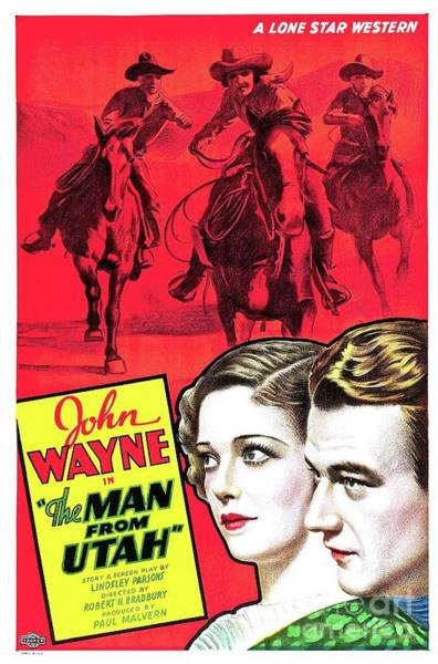 Wall Art - Painting - Classic Movie Poster - The Man From Utah by Esoterica Art Agency