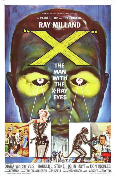 Horror Film Painting - Classic Movie Poster - The Man With The X-ray Eyes by Esoterica Art Agency