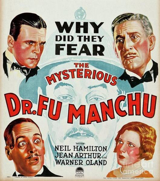 Wall Art - Painting - Classic Movie Poster - The Mysterious Dr. Fu Manchu by Esoterica Art Agency