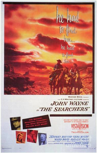Wall Art - Painting - Classic Movie Poster - The Searchers by Esoterica Art Agency