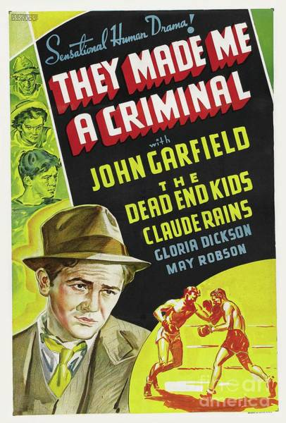 Wall Art - Painting - Classic Movie Poster - They Made Me A Criminal by Esoterica Art Agency