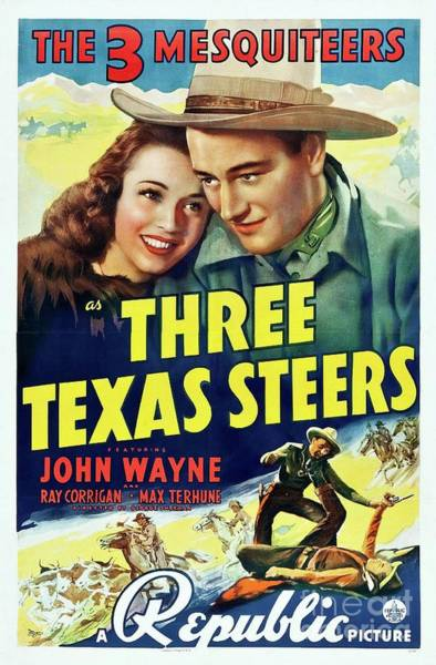 Wall Art - Painting - Classic Movie Poster - Three Texas Steers by Esoterica Art Agency