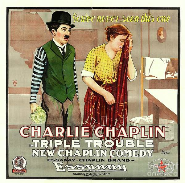 Wall Art - Painting - Classic Movie Poster - Triple Trouble by Esoterica Art Agency
