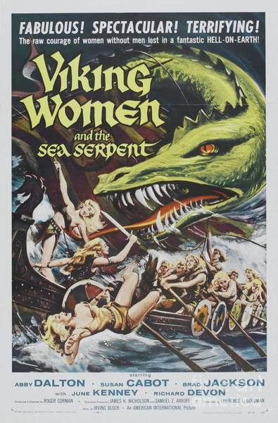 Wall Art - Painting - Classic Movie Poster - Viking Women And The Sea Serpent by Esoterica Art Agency