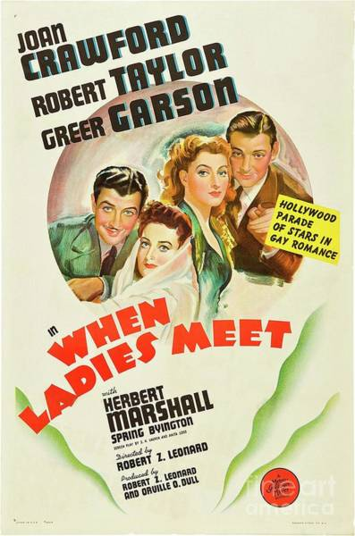 Wall Art - Painting - Classic Movie Poster - When Ladies Meet by Esoterica Art Agency