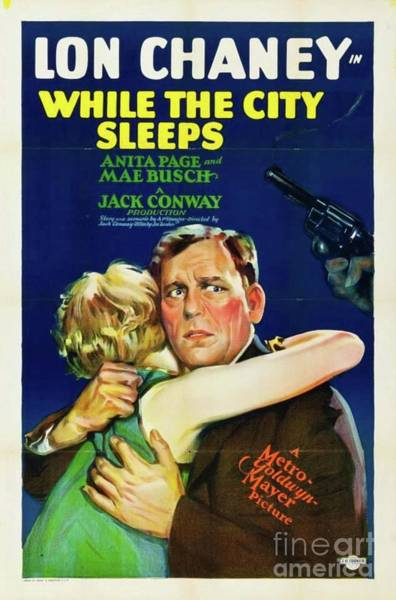 Wall Art - Painting - Classic Movie Poster - While The City Sleeps by Esoterica Art Agency